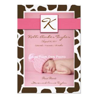 Baby Girl Birth Announcement Pink Brown Giraffe