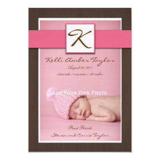 Baby Girl Birth Announcement Pink Brown