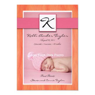Baby Girl Birth Announcement Pink Orange