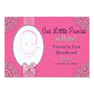 Baby Girl Birth Announcement - PINK - Photo Insert