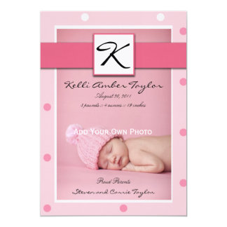 Baby Girl Birth Announcement Pink Polka Dots