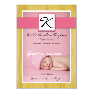 Baby Girl Birth Announcement Pink Yellow