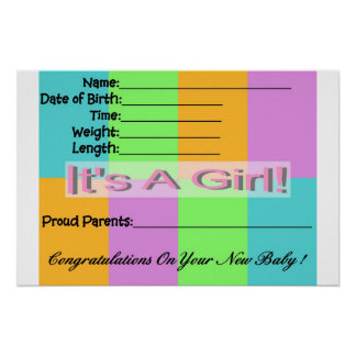 Baby Girl Birth Announcement Poster