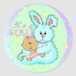 Baby Girl birth announcement Stickers