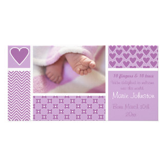 Baby Girl Birth Announcement Stripe Flowers Hearts