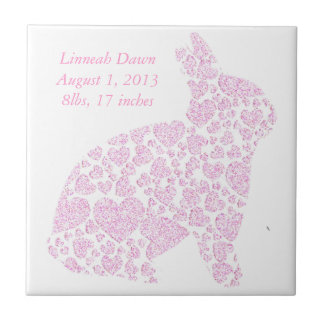 Baby Girl Birth Announcement Small Square Tile