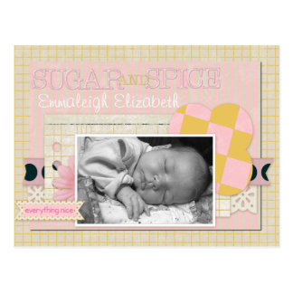 Baby Girl Birth Announcements Custom Name & Photo Postcard