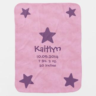 Baby Girl Birth Info Blue Stars Clouds V02 Swaddle Blanket