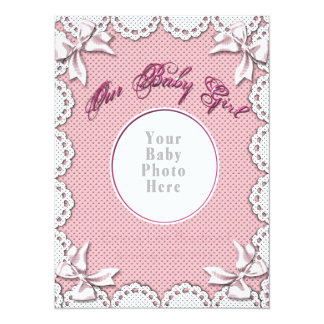 Baby Girl Birth Notice-Insert Your Baby's Photo Card
