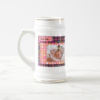 Baby Girl Birth Photo Keepsake Beer Stein