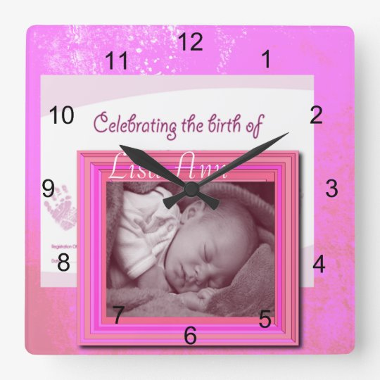 Baby Girl Birth Photo Square Wall Clock