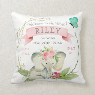 Baby Girl Birth Stats Cute Elephant Throw Pillow at Zazzle
