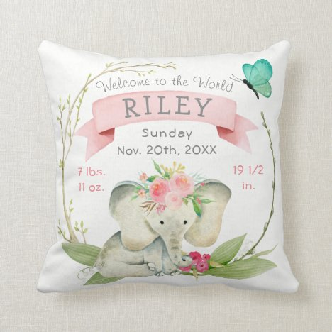 Baby Girl Birth Stats Cute Elephant Throw Pillow