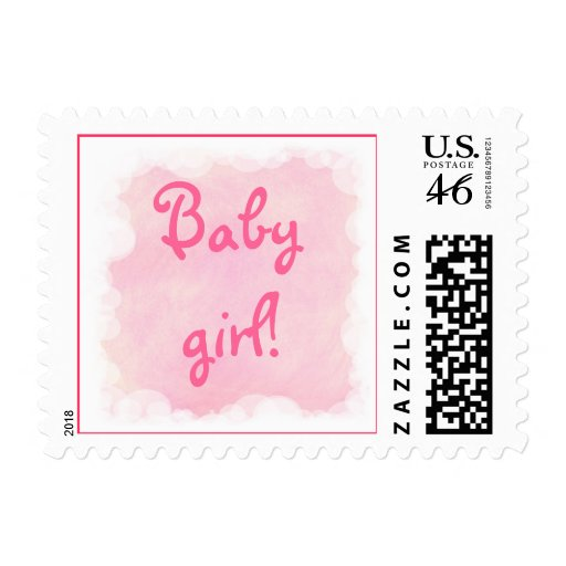 Baby girl! Blended Pink in Clouds Postage Stamps