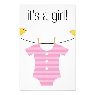 Baby Girl Bodysuit Outfit on a Clothesline Stationery
