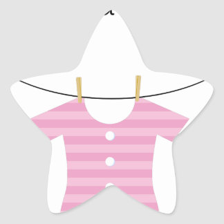 Baby Girl Bodysuit Outfit on a Clothesline Star Sticker