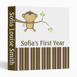 Baby Girl Book First Year Monkey Binder