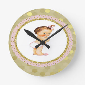 Baby girl Born to greatness Gold/Pink Round Clock