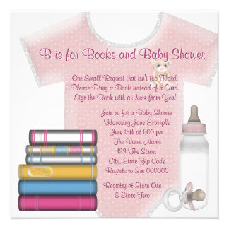 Baby Girl Bring A Book Baby Shower Card