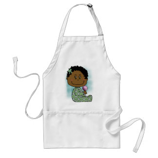 Baby girl brown hair and eyes adult apron