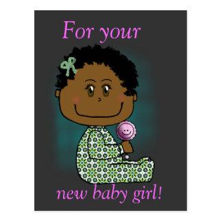 Baby girl brown hair and eyes postcard