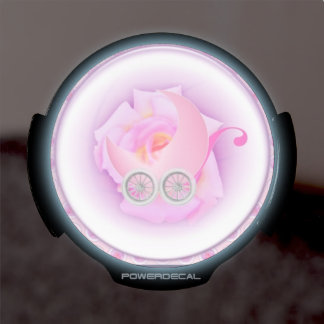 Baby girl buggy and rose LED car decal
