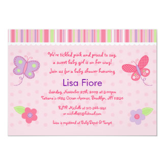 "Baby Girl Butterfly Custom Baby Shower Invitations 5"" X 7"" Invitation Card"