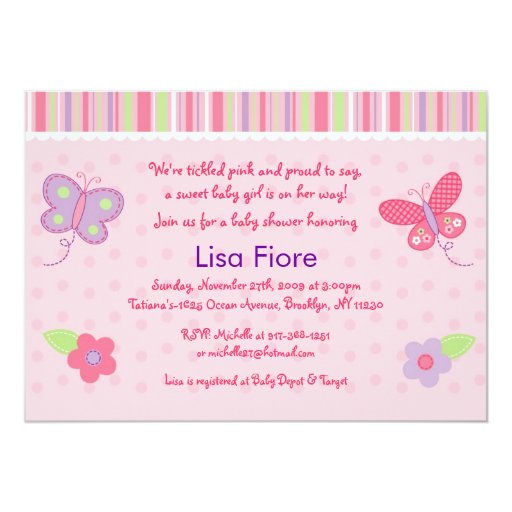 baby girl butterfly custom baby shower invitations zazzle
