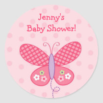 Baby Girl Butterfly Dots Stickers Envelope Seals