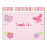 Baby Girl Butterfly Flat Thank You Note Cards