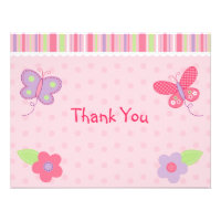Baby Girl Butterfly Flat Thank You Note Cards Personalized Announcement