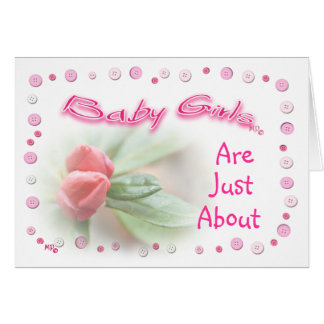 Baby Girl Button Frame- customize any occasion Card