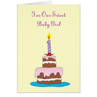 Baby Girl, Cake First Birthday Card