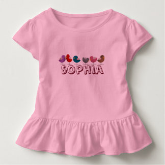 Baby Girl Cartoon Birds Pink Sophia Personalized Toddler T-shirt