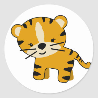 Baby Girl Cartoon Tiger Classic Round Sticker