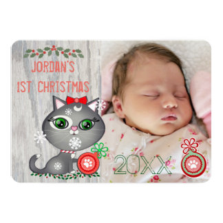 Baby Girl Cat Lover First Christmas Greeting Card