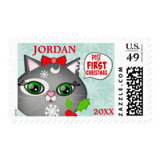 Baby Girl Cat Lover First Christmas Postage Stamps