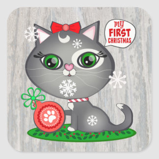 Baby Girl Cat Lover First Christmas Stickers