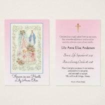 Baby Girl Catholic Funeral Memorial Holy Card -
