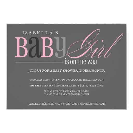 Baby Girl | Charcoal 5x7 Paper Invitation Card