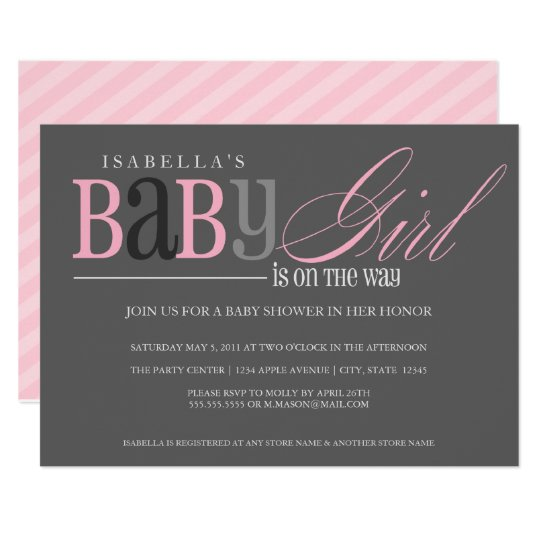 Baby Girl   Charcoal Card