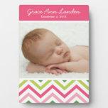 Baby Girl Chevron Photo Plaque