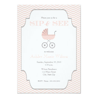 Baby Girl Chevron Sip and See Invitation