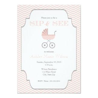 "Baby Girl Chevron Sip and See Invitation 5"" X 7"" Invitation Card"