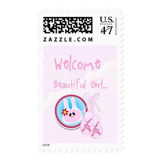 Baby Girl Children's Booties Announcement Stamp