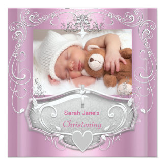 "Baby Girl Christening Baptism Pink Silver Cross 5.25"" Square Invitation Card"