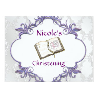 BABY GIRL CHRISTENING WHITE Damask Design 6.5x8.75 Paper Invitation Card