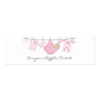 Baby Girl Clothes Line Diaper Raffle - Skinny Card