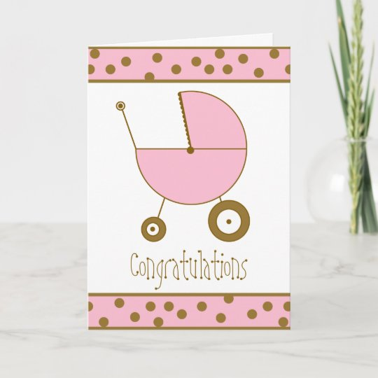 Baby Girl Congratulations Card Pink Stroller