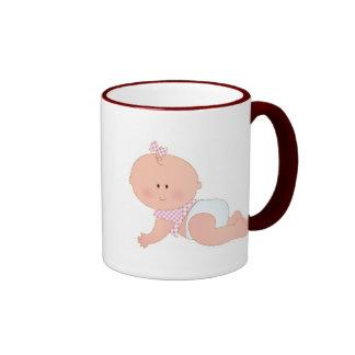 Baby Girl Crawling Ringer Coffee Mug